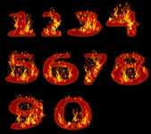 Fire burning on arabic number zero to nine use for multipurpose — Stock Photo