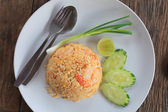 Thai fried rice with fresh water shrimp — Stock Photo