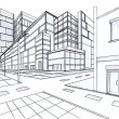 Two point perspective sketching plan of out door building — Stock Photo
