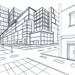 Two point perspective sketching plan of out door building — Stockfoto