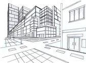 2 点透視法のドアの建物の計画をスケッチ — ストック写真