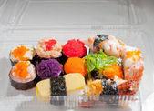 "Japanese food ""sushi"" in plastic box — Stock Photo"