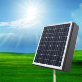 Solarcell out door with with sun shining on blue sky — Stock Photo