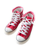 Old red sneaker shoes isolated white — Fotografia Stock