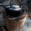 Old used kettle on tradition stove with water stream — Stock Photo #32281919