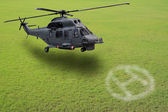 Helicopter lands on green field — Stockfoto