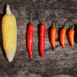 Corn, chilly and paprika — Stock Photo