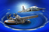 Flying of may kind old classic plane over fantasy blue ocean — Stockfoto
