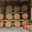Stock Photo: Oak wood barrel tank stacked in winery house