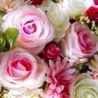 Close up of artificial flowers bouquet arrange for decoration in home — Stock Photo #36834247