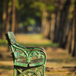 Old green bench in park with blurry background use as copy space  — Foto de Stock