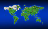 World map by green leaves and rock texture — Stock Photo