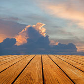 Wood terrace perspective to sky and sun shine — Stock Photo