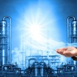 Business man and refinery industry plant use for heavy industry and petrochemical industry theme — Stock Photo