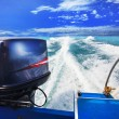 Rear view from speed boats running against clear sea blue water — Stock Photo #38125509
