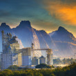 Mountain scene of heavy industry of limestone manufacturing in m — Stock Photo #38783929
