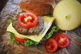 Close up of ham cheese burger and bun with tomato onion and gree — Stock Photo