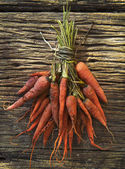 File dry carrot lyinng on old top wood table — Stock Photo