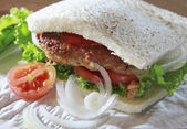 Fried meat sandwich bread with green vegetable tomato and onion — Stok fotoğraf