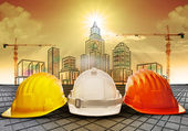 Safety helmet and building construction sketching on paper work use for construction industry business and architecture engineering topic — Stock Photo