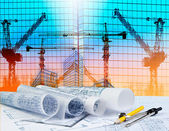 Architecture plan on architect working table with building and r — Stock Photo