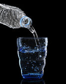 Freshness cool and clean drinking water pouring to blue glass is — Stock Photo