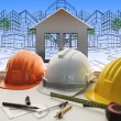 Engineer working table with construction industry and engineerin — Stock Photo