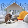 Hand of architect working on computer tablet with construction — Stock Photo