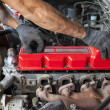 Hand repair and maintenance cylinder diesel engine of light pick — ストック写真 #41256309