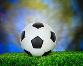 Soccer football on green grass field use for sport competition b — Stock Photo