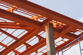 Metal structure of house roof in home construction site use for — Stock Photo