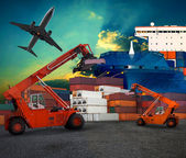 Ship yard  logistic by land transport and air plane use for tran — Stock Photo
