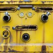 Yellow color old dirty of switch tool water pump on liquid tank — Stock Photo #44797507