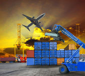 Container and port ship yard scene logistic service by  truck ,land transport and air plane cargo use for transportation industry business and port freight trading service industrial — Stock Photo