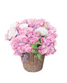 Pink roses flowers bouquet arrangement in bamboo basket for deco — Stock Photo
