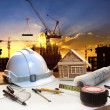 Engineer working table plan, home model and writing tool equipme — Stock Photo #46247795