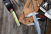 Diy home work tool working on wood table with wood plank nut sca — Stock Photo