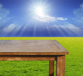 Empty free space top wood table on green grass field against sun — Stock Photo