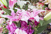 Artificial pink lilly flowers bouquet arrangement for decorated  — Stock Photo