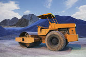 Bulldozer tank road construction machine and sand rock for construction site — Stock Photo
