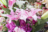 Artificial pink lilly flower bouquet — Photo