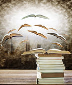 Abstract of open book on stack and flying book to the light over — Stock Photo