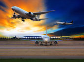 Passenger plane in international airport use for air transport a — Stock Photo