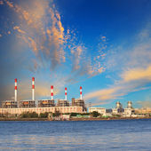 Thermal Power Plant beside river side location use for industry  — Stok fotoğraf