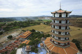 Top view of chinese pagoda wat tum khao noi temple in kanchaburi — Stock Photo