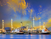 Tanker ship and petrochemical oil refinery industry plant with b — Stock Photo