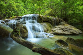 Lime stone water fall in arawan water fall national park kanchan — Stock Photo