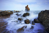 Beautiful sea scape of waves splashing on rock  use for multipur — Stock Photo