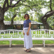 Thai female wearing thai tradition clothes standing in park of king palace — Stock Photo #50724539
