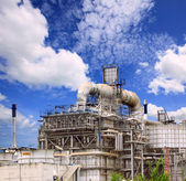 Big tube in refinery petrochemical plant in heavy industry estat — Stock Photo